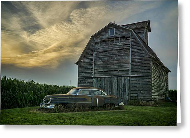 An Old Cadillac By A Barn And Cornfield Greeting Card