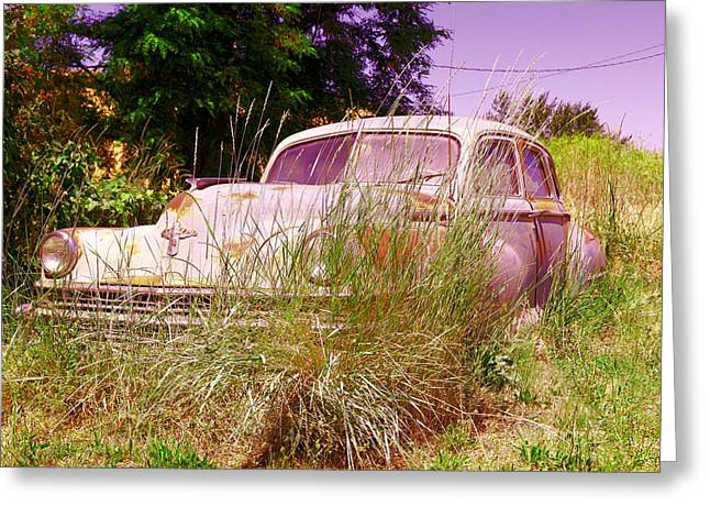 An Old Car Left In The Weeds Greeting Card by Jeff Swan
