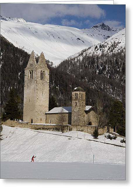 An Old Church And Tower Nestled Greeting Card by Taylor S. Kennedy