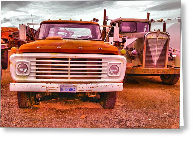 An Old Ford And Kenworth Greeting Card