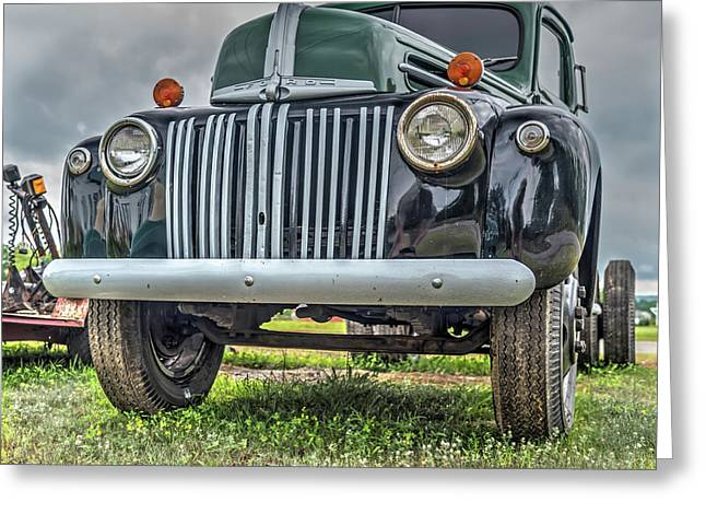Greeting Card featuring the photograph An Old Green Ford Truck by Guy Whiteley