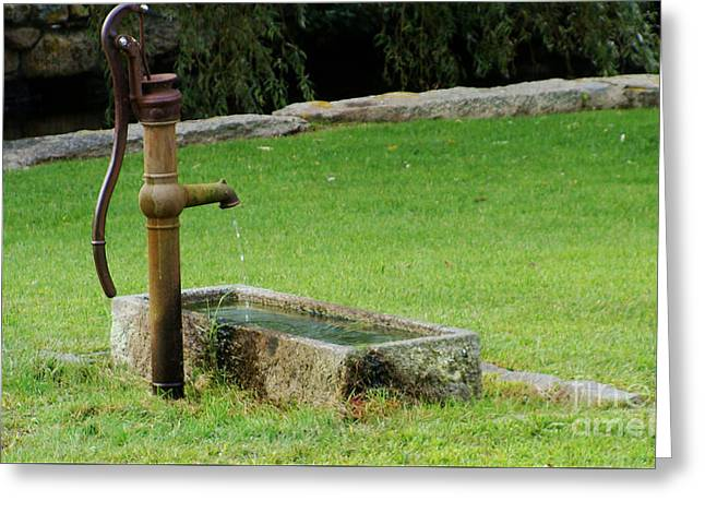 An Old Hand Pump In Plymouth,mass Greeting Card by Rod Jellison