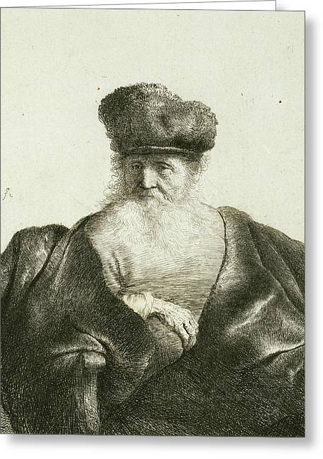 An Old Man With A Beard, Fur Cap, And Velvet Cloak Greeting Card by Rembrandt