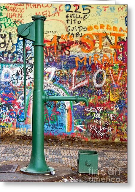 An Old Pump And Lennon Wall In Prague Greeting Card by Hideaki Sakurai