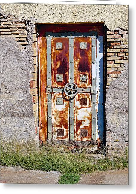 An Old Rusty Door In Katakolon Greece Greeting Card by Richard Rosenshein