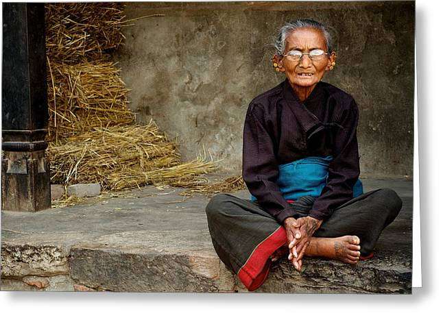 An Old Woman In Bhaktapur Greeting Card by Valerie Rosen