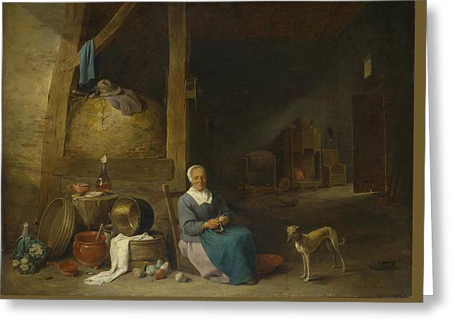 An Old Woman Peeling Pears Greeting Card by Follower of David Teniers the Younger