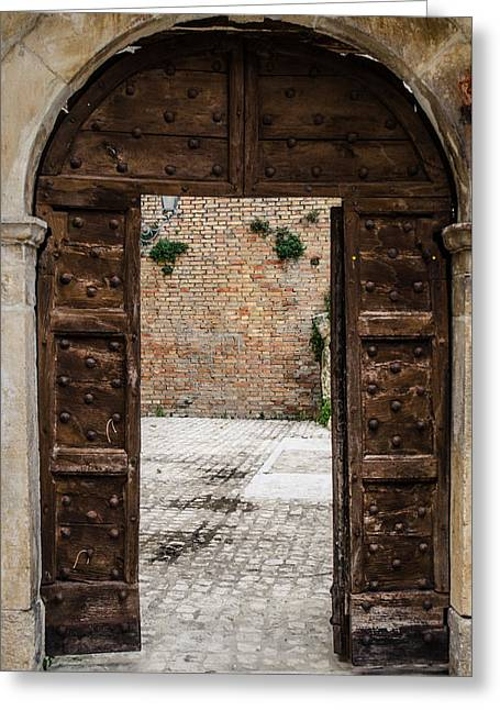 An Old Wooden Door 2 Greeting Card by Andrea Mazzocchetti