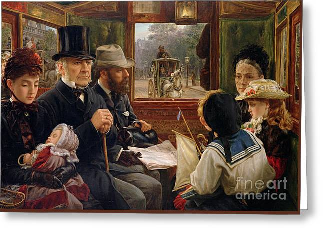 An Omnibus Ride To Piccadilly Circus, Mr Gladstone Travelling With Ordinary Passengers Greeting Card