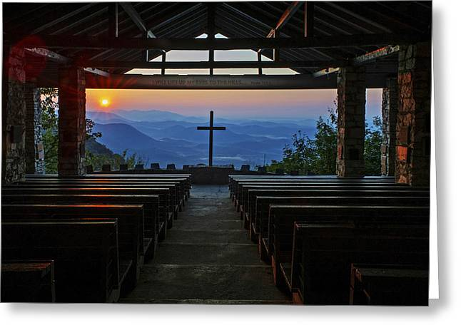 An Outdoor Mountain Chapel   Symmes Chapel Aka Pretty Place  Greenville Sc Greeting Card