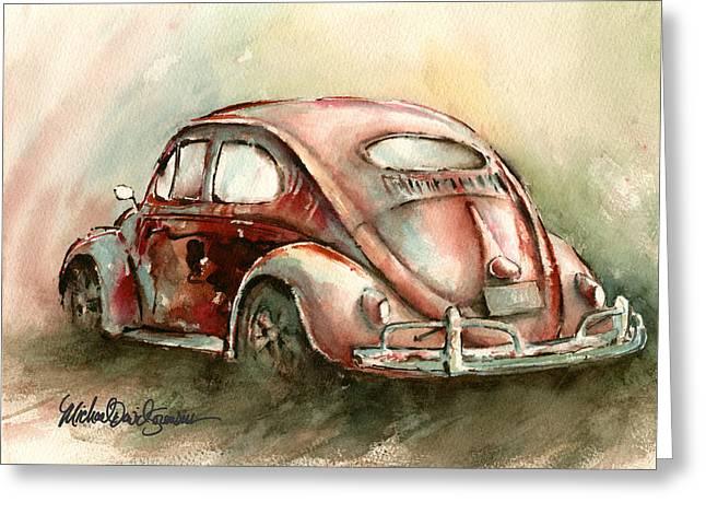 An Oval Window Bug In Deep Red Greeting Card by Michael David Sorensen