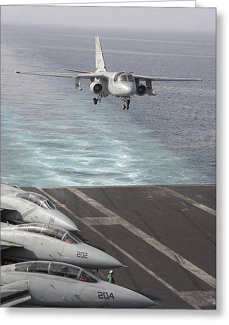 Supercarrier Greeting Cards - An S-3b Viking Prepares To Make An Greeting Card by Stocktrek Images