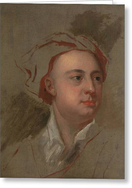 An Unfinished Study Of The Head Of James Thomson Greeting Card by William Aikman