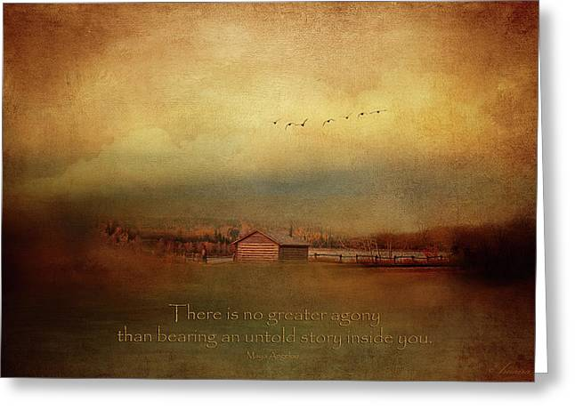 An Untold Story - Maya Angelou Quotes Greeting Card by Maria Angelica Maira