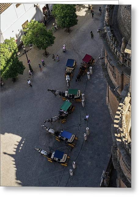 An Unusual Perspective On The Charming Horse Drawn Carriages In Seville Spain Greeting Card