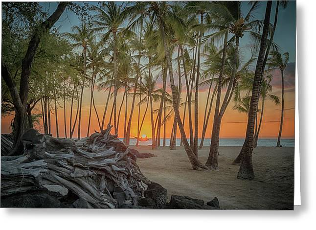Anaehoomalu Beach Sunset Greeting Card