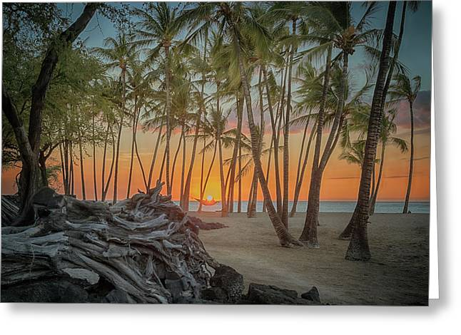 Greeting Card featuring the photograph Anaehoomalu Beach Sunset by Susan Rissi Tregoning