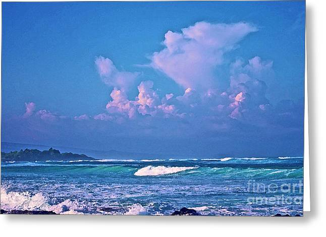Greeting Card featuring the photograph Anaeho'omalu Waves And Clouds by Bette Phelan