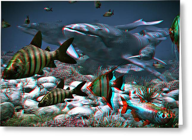 Anaglyph Whales Greeting Card by Ramon Martinez