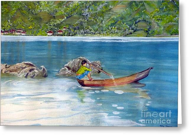 Greeting Card featuring the painting Anak Dan Perahu by Melly Terpening