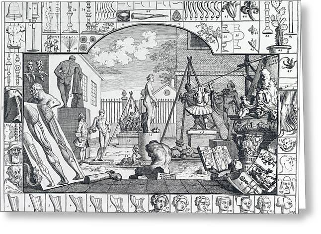 Analysis Of Beauty Engraving By Hogarth  1753 Greeting Card