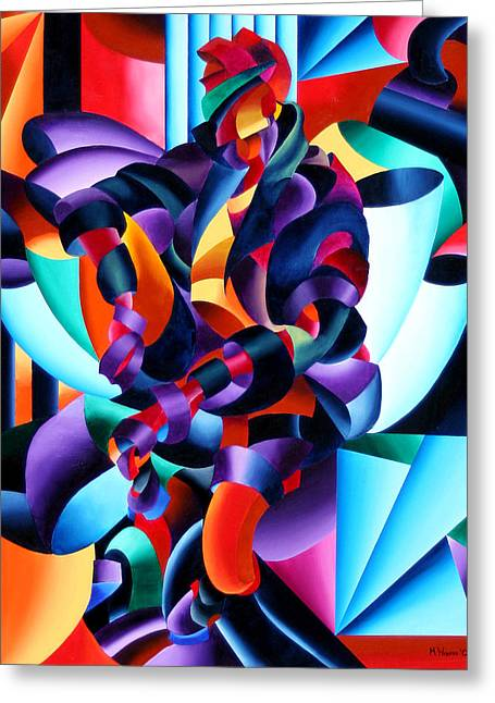 Greeting Card featuring the painting Anamorphosis From The Outside In by Mark Webster