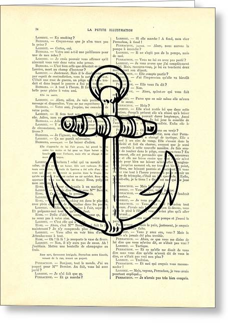Anchor Black Lines Old School Illustration Greeting Card by Madame Memento
