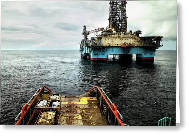 Anchor Handling Tug Near Oil Rig Greeting Card