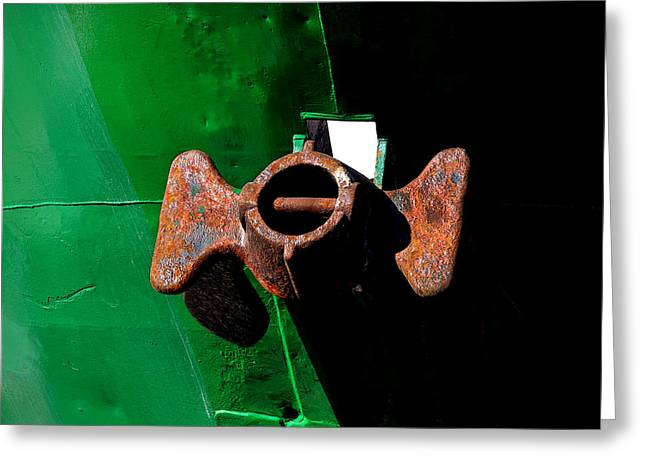 Anchor On Green Boat Greeting Card by Art Block Collections