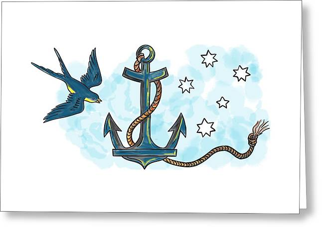 Anchor Swallow Southern Star Tattoo Greeting Card by Aloysius Patrimonio