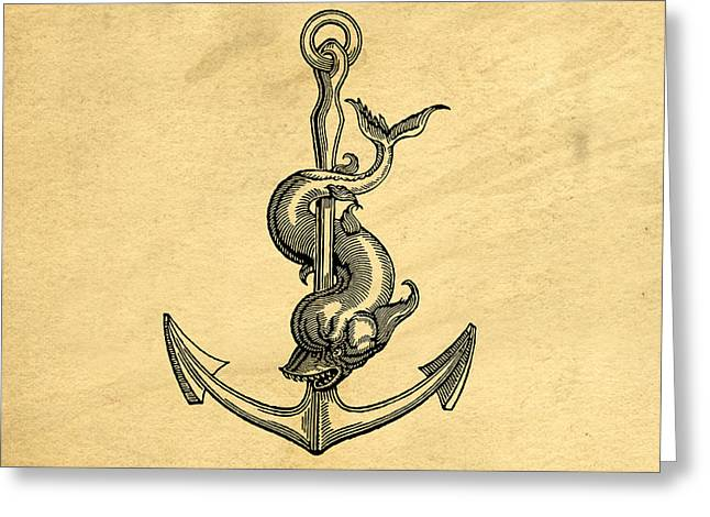 Greeting Card featuring the drawing Anchor Vintage by Edward Fielding