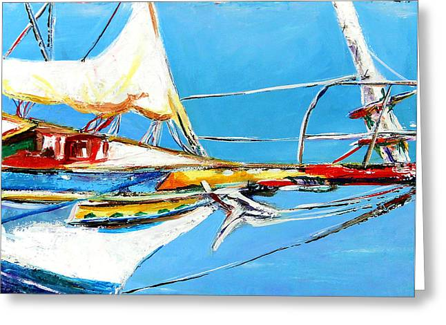 Anchored Greeting Card by Marti Green