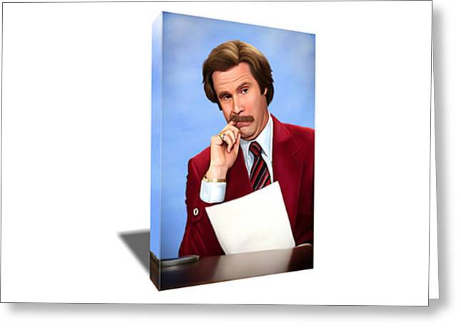 Anchorman Ron Burgundy Canvas Art Greeting Card by Artwrench Dotcom