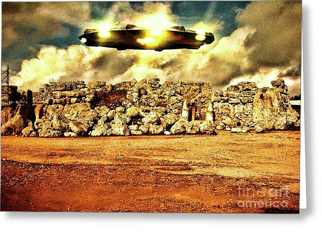 Ancient Aliens Visit Malta By Raphael Terra Greeting Card