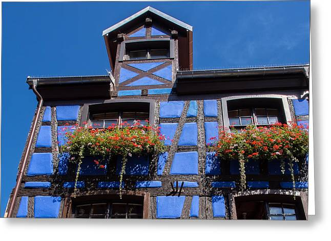 Ancient Alsace Auberge In Blue Greeting Card