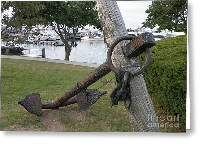 Mayflower Beach Greeting Cards - Ancient Anchor In Plymouth Massachusetts Greeting Card by Gina Sullivan