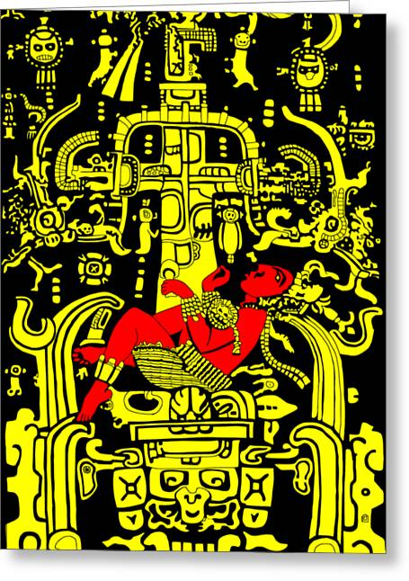 Ancient Astronaut Yellow And Red Version Greeting Card