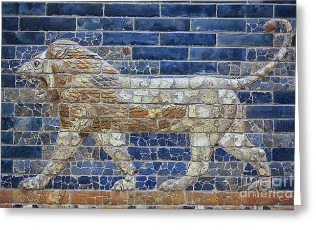 Ancient Babylon Lion Greeting Card by Patricia Hofmeester