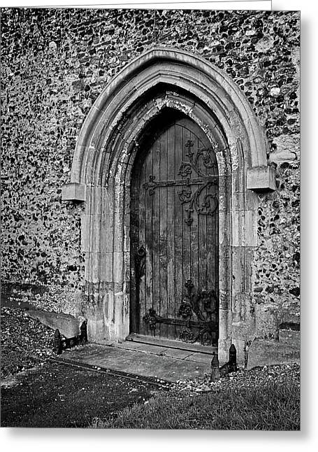 Ancient Church Door With Ornate Hinges In Black And White Greeting Card