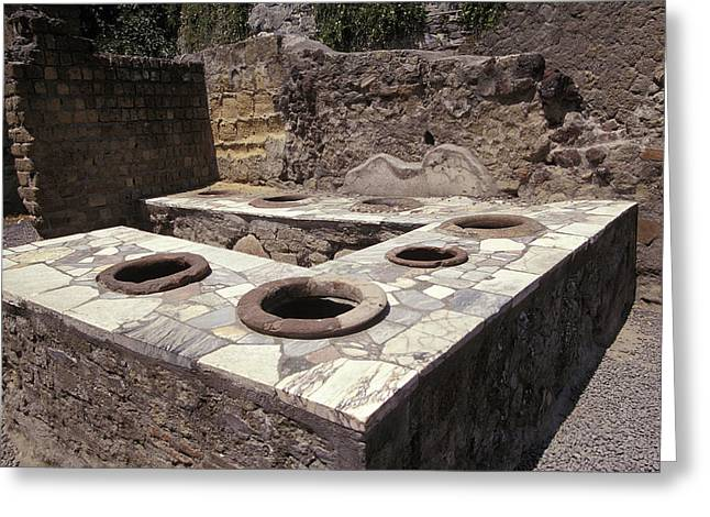 Herculaneum Greeting Cards - Ancient Corner Wine Bar With Pottery Greeting Card by Richard Nowitz