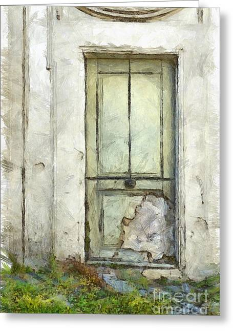 Ancient Doorway Rome Italy Pencil Greeting Card by Edward Fielding
