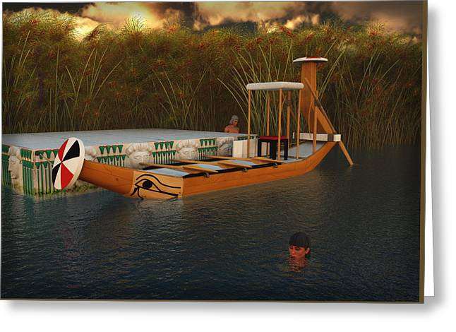 Ancient Egypt Leisure Boat Greeting Card by Leone M Jennarelli