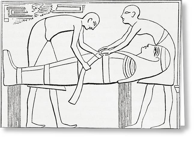 Ancient Egyptians Swathing Or Wrapping Greeting Card by Vintage Design Pics