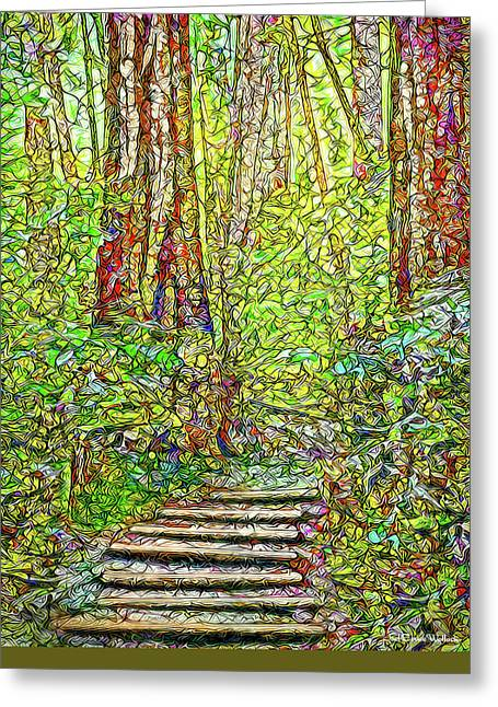 Greeting Card featuring the digital art Ancient Forest Path - Tamalpais California by Joel Bruce Wallach
