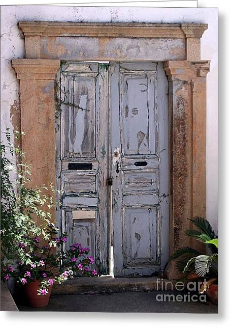 Ancient Garden Doors In Greece Greeting Card