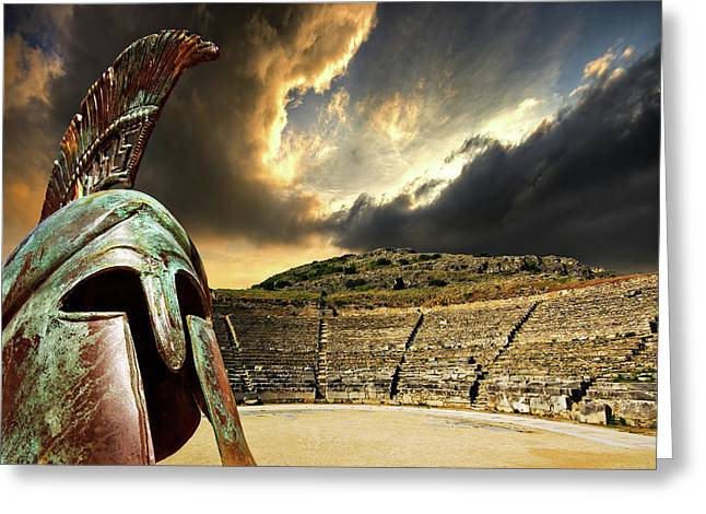 Theatre Photographs Greeting Cards - Ancient Greece Greeting Card by Meirion Matthias