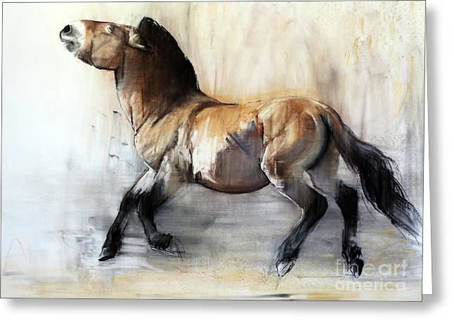 Ancient Horse Przewalski In Winter Greeting Card