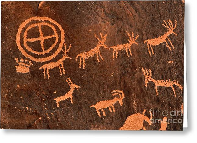Newspaper Rock Sandstone Greeting Cards - Ancient Indian Petroglyphs Greeting Card by Gary Whitton