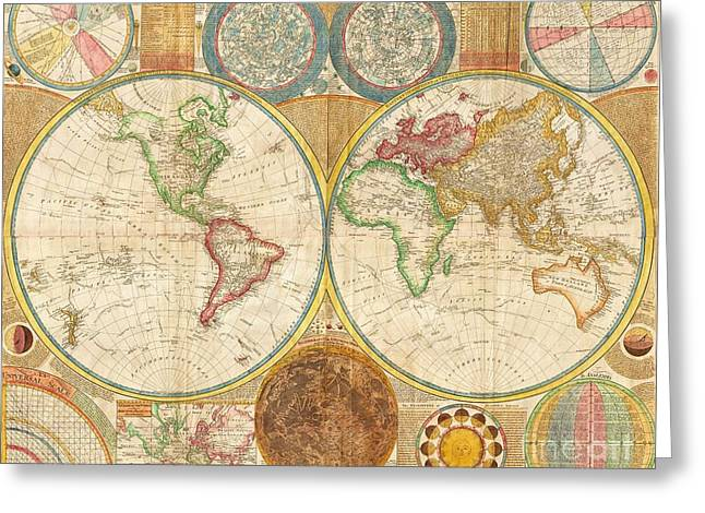 Ancient Map World In Hemispheres Greeting Card by Pg Reproductions