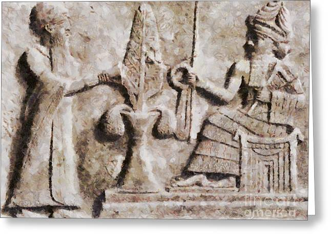 Ancient Mesopotamia Relief By Sarah Kirk Greeting Card